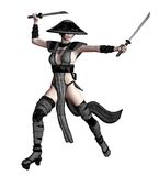 Oriental fighter 1. 3D render of a female fighter in an oriental outfit Royalty Free Stock Images
