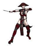 Oriental fighter 3. 3D render of an oriental fantasy female fighter Stock Image