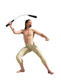 Oriental fighter with nunchuck Royalty Free Stock Photo