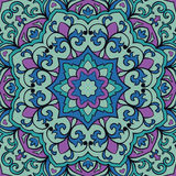 Oriental filigree pattern. Oriental filigree pattern of mandala. Vector turquoise and lilac background. Colorful template for textile, carpet, wallpaper, shawls Stock Images