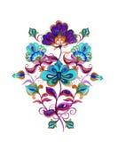 Oriental - fleurs fleuries européennes Motif d'aquarelle - broderie florale Photo libre de droits