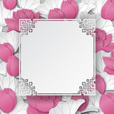 Oriental floral background with pink lotus flowers and chinese ornate cuted frame Royalty Free Stock Image
