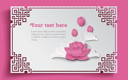 Oriental floral background with pink lotus flowers and ornate cut frame on white pattern backdrop for greeting card Stock Photo