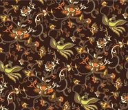 Oriental Floral and Bird Pattern 2 royalty free illustration
