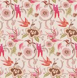 Oriental Floral and Bird Pattern 3 royalty free illustration