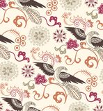 Oriental Floral and Birds Pattern Stock Photo