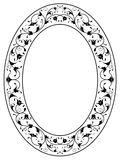 Oriental floral ornamental black oval frame Stock Photography