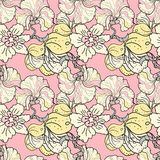 Oriental flowers blossom floral seamless pattern Royalty Free Stock Photo