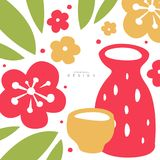 Oriental flowers, leaves, jug, cup, card with traditional asian pattern, original design, decorative element colorful. Vector illustration, web design Stock Images
