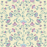 Oriental flowers pattern, floral ornament on beige background. Seamless tribal vector wallpaper with pastel color Stock Photo