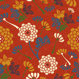 Oriental flowers seamless pattern Royalty Free Stock Photo