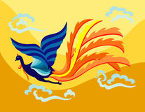 Oriental flying phoenix. An oriental decorative phoenix flapping it's wing in the sky with flamed feather stock illustration