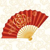 Oriental folding fan with flowers. Red fan with flowers. Foldable, open, bright. Gentle background with flowers. Vector Royalty Free Stock Photography