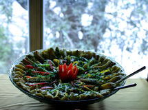 Oriental food. A round plate of colourful oriental food against window backdrop Royalty Free Stock Images