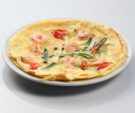 Oriental food. A oriental omelet with shrimp and onion Stock Photography