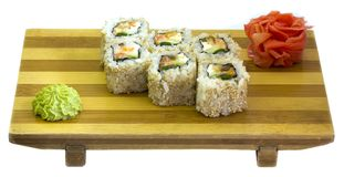 Oriental food, Japanese food. Raw fish, sushi, sushi on wooden plate Royalty Free Stock Image