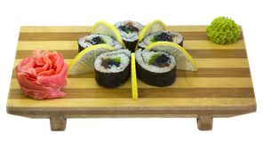 Oriental food, Japanese food. Raw fish, sushi, sushi on wooden plate Stock Images