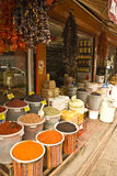 Oriental food and spice market. Simply presented food and spices for sale in a neighbourhood store in Istanbul Royalty Free Stock Image