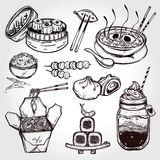 Oriental foods vector set. Royalty Free Stock Photography