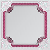 Oriental frame on pink pattern background for chinese new year greeting card, poster or banner. Paper cut out style. Vector illustration, layers are isolated vector illustration