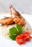 Oriental fried rice with tiger prawns Royalty Free Stock Photography