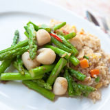 Oriental Fried Rice With Asparagus And Scallops. Royalty Free Stock Photography