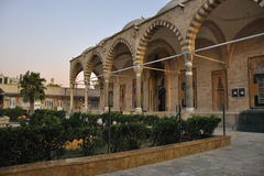 Oriental garden and madrasah. This is main medrasa at Halab in Syria at Middle East Royalty Free Stock Photos