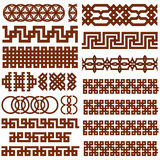 17 Oriental Geometrical Seamless Borders Royalty Free Stock Images