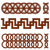 Oriental geometrical seamless borders Stock Photo