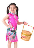 Oriental girl in chinese red cheongsam dress Stock Photography