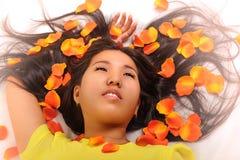 Oriental girl posing in studio Stock Images