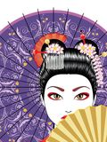 Geisha with Fan. Oriental girl with traditional geisha hairstyle, makeup and decorative fan stock illustration