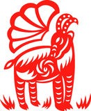 Oriental goat. An oriental decorative paper cut of a goat vector illustration