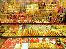 Oriental gold jewelry in the Grand Bazaar, Istanbul Royalty Free Stock Image