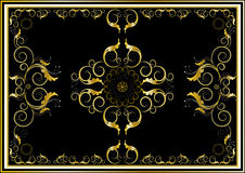 Oriental gold ornaments for rug in dark background Stock Image