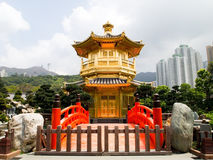 Oriental Golden Pavilion. Of Chi Lin Nunnery and Chinese garden, Hong Kong Stock Photography
