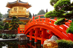 Oriental golden pavilion of Chi Lin Nunnery and Ch. Inese garden, landmark in Hong Kong stock images
