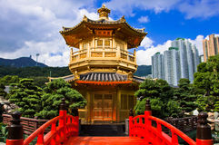 Oriental golden pavilion of Chi Lin Nunnery Stock Photos