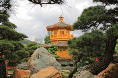 Oriental golden pavilion of Chi Lin Nunnery and Chinese garden, Stock Image
