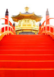 Oriental golden pavilion and red bridge Royalty Free Stock Photo