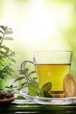 Oriental green tea with mint and lemon on bamboo closeup Stock Images