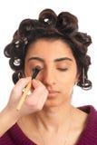 Oriental hairdo and makeup in progress Stock Photos