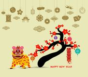 Oriental Happy Chinese New Year 2018 blossom. Lion dance chinese baclground.  Stock Photography
