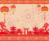 Oriental Happy Chinese New Year card Royalty Free Stock Photography