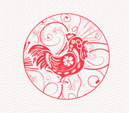 Oriental Happy Chinese New Year 2017 Year of Rooster Design.  stock illustration