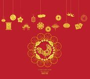 Oriental Happy Chinese New Year 2017 Year of Rooster Design.  Royalty Free Stock Photo