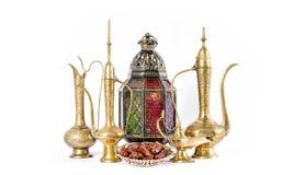 Oriental holidays decoration lantern pots dishes. Muslim hospita Royalty Free Stock Photo