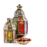 Oriental holidays decoration light lantern Ramadan kareem. Oriental light lantern on white background. Arabic holidays decoration. Ramadan kareem. Eid mubarak royalty free stock photos