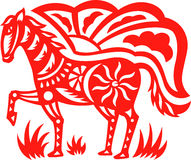 Oriental horse. An oriental decorative paper cut of a horse royalty free illustration