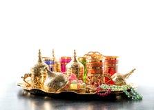 Oriental hospitality Arabic tea coffee golden cups Ramadan kareem. Oriental hospitality. Arabic tea coffee table with golden cups. Ramadan kareem royalty free stock photos